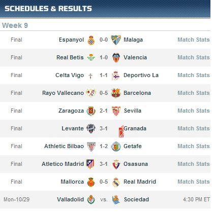 spanska liga rezultati